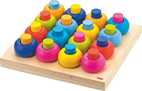 Image of HABA Palette of Pegs - 32 Piece Wooden Pegging & Arranging Game for Ages 2 and Up