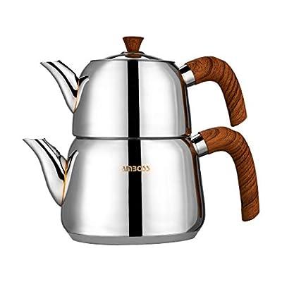 Amboss Turkish Teapot Set with Steam Lid 4 PCS Stainless Steel Wood Design Bakelite Handles Induction Cooker Compatible Turkish Tea Set