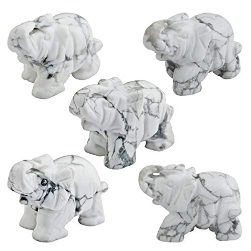SUNYIK White Howlite Turquoise Elephant Pocket Statue Kitchen Guardian Healing Figurine Decor 1.5' Pack of 5