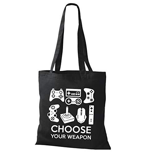 Jutebeutel Controller Video Gamer Oldschool Retro Controller 80er E-Sport Choose Your Weapon Einkaufstasche