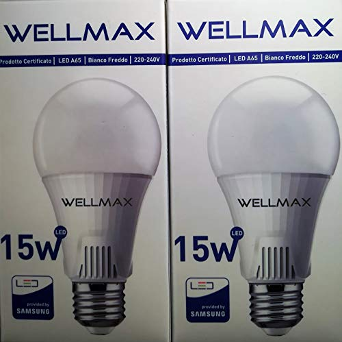 anna flowers WELLMAX - Set di 2 Pezzi Lampada a LED E27 15W A65, Lampadina di Palla LED, Lumen1350lm,Dimensioni: Altezza 128 mm, Larghezza 65mm 6500K Provided by Samsung