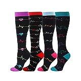 Aoliao Calcetines de compresión para mujeres y hombres calcetines de compresión de circulación 20-30 mmHg para correr, deporte, enfermera, viajes edema