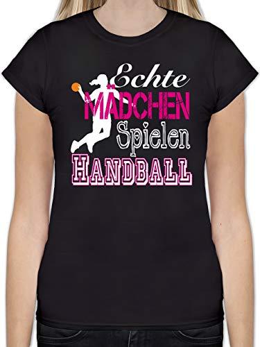 Handball - Echte Mädchen Spielen Handball weiß - S - Schwarz - mädchen t-Shirt sprüche - L191 - Tailliertes Tshirt für Damen und Frauen T-Shirt