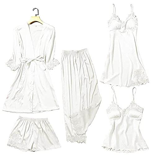 QKX,Ropa de Dormir,Kimono Bata de satén Ropa de Dormir de Mujer Ribete lencería íntima cómoda Ropa de Estar con Cuello en V Traje de baño de Verano, Blanco A, M