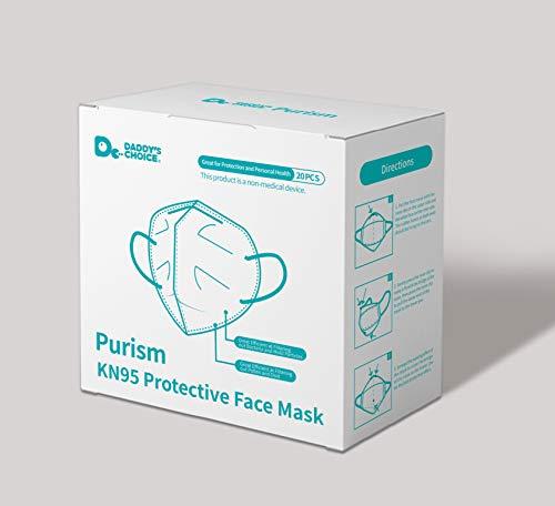 Purism, KN95/FFP2 Atemschutzmaske, 94% Filtration (Packung mit 20 Stück)