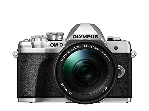 Olympus - Kit de cámara OM-D E-M10 Mark III Sistema Micro Four Third, Sensor 16 Mpx, autoenfoque táctil, Visor electrónico, vídeo 4K, Wi-Fi, en Plata con el M.Zuiko Digital 14-150mm F4.0-5.6 II Negro