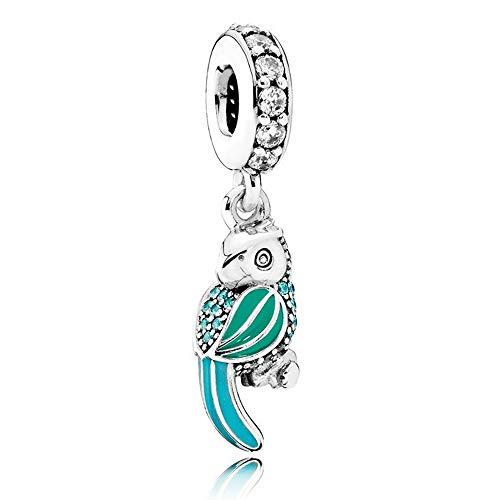 Europeisk 2016 sommar tropisk papegoja hängande berlock pärla autentisk 925 sterling silver passar Pandora armband & halsband gör-det-själv smycken