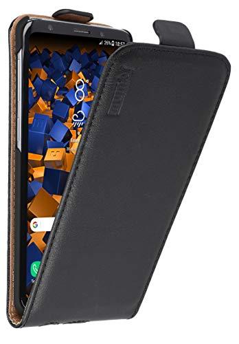 mumbi Echt Leder Flip Hülle kompatibel mit Samsung Galaxy S9 Hülle Leder Tasche Hülle Wallet, schwarz