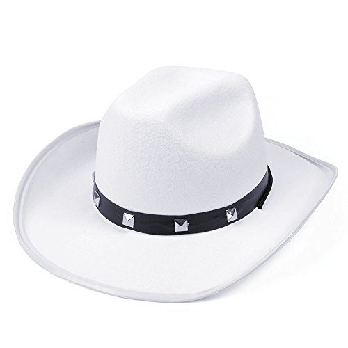 White Felt Cowboy Studded Hat (Hats) - Male - One Size (gorro/sombrero) (Juguete)