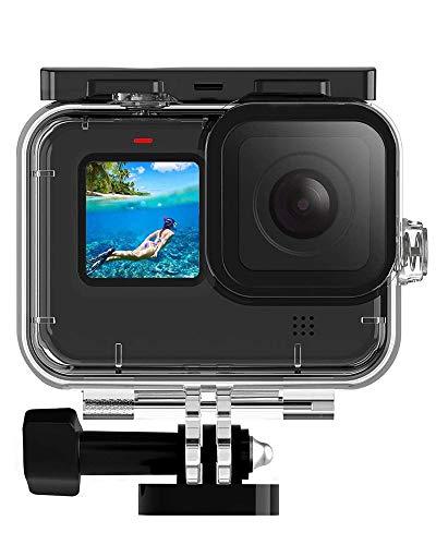 MAXKU wasserdichte Schutzhülle Gehäuse für GoPro Hero 9 Black Action Kamera Zubehör, 60M Wasserresistente Unterwassergehäuse mit Schnellmontage Klammer Zubehör für GoPro Hero9 Black