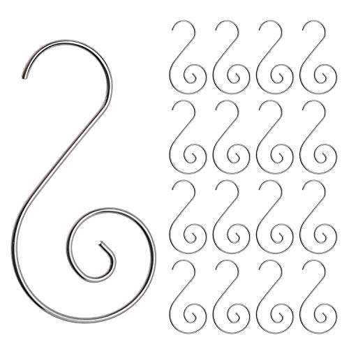 Cedilis 300 Pack Swirl Christmas Ornaments Hooks, Stainless Steel Christmas Tree Hanger, Christmas Stocking Hooks Great for Christmas Tree Decoration, Silver