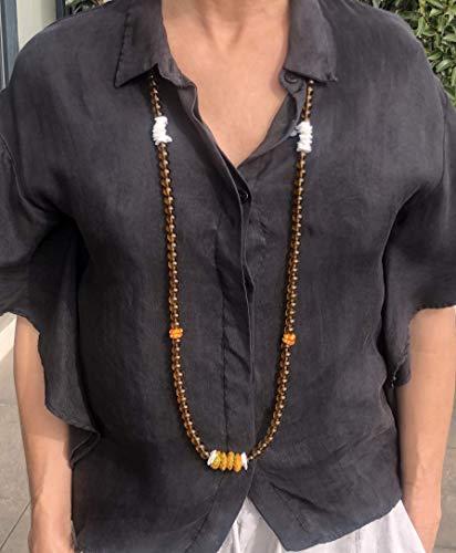 Ethnos Barcelona - Collana lunga di perle di vetro e conchiglie.
