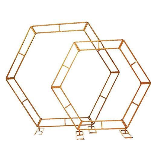 CPPI-1 Arco de Arte de Hierro Hexagonal Arte de Hierro Arco de Boda Arte de Hierro Soporte de Boda para Fiesta de Boda Nupcial Baile de graduación jardín decoración Floral