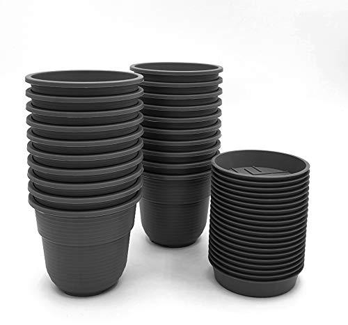 Anzuchttöpfe 8 cm Durchmesser 20 Stück mit Untersetzer Farbe: Anthrazit, Kunststoff Pflanztopf aus witterungsbeständigen Material, runde Saattöpfe