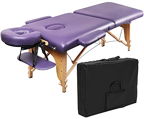Portable Massage Table EBANKU Massage Bed Adjustable Folding Lash Spa Tattoo Bed with Carrying Case - Purple