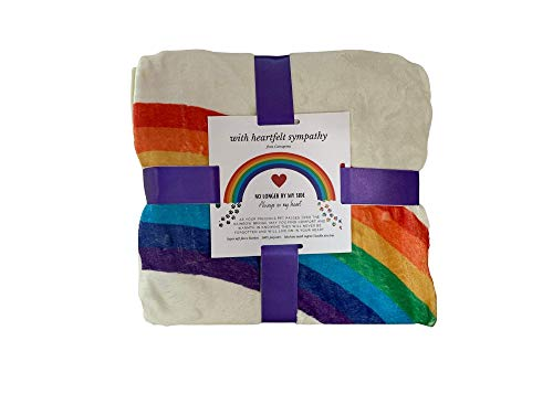 Catrageous Pet Memorial Blanket - Over The Rainbow Bridge Bereavement Gift for Dog or Cat Loss - with Comforting Heartfelt Sentiment and Colorful Pawprints
