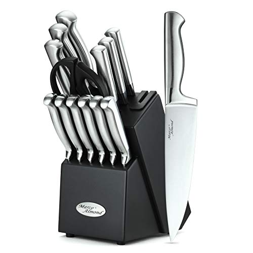 Marco Almond KYA28 Knife Set, 14 Pieces Japanese High Carbon Stainless Steel Cutlery Kitchen Knife Set with Hardwood Block, Hollow Handle Self Sharpening Knife Block Set, Black, Best Gift