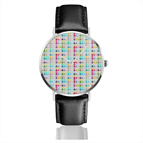 Armbanduhr Quarzuhr Farbige Fliesen Freizeituhren mit schwarzer Lederuhr
