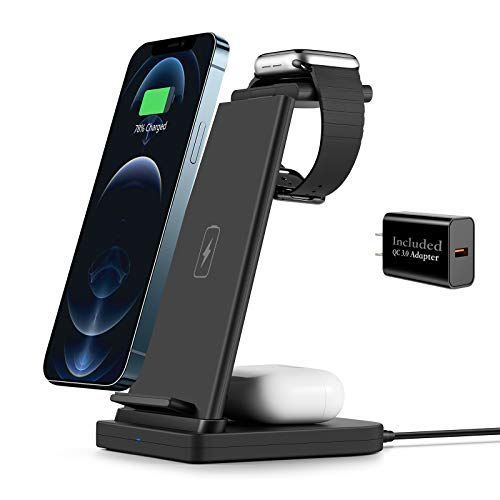 Wireless Charging Stand, SHRMIA 3 in 1 Wireless Charger Charging...