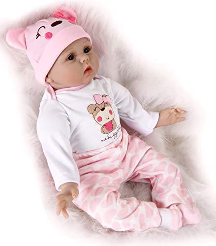 ZIYIUI Muñeca Bebé Renacer 22pulgadas 55cm Reborn Baby Doll Silicona Vinilo niña Hecho a Mano Recién Nacido Juguete Realista Niños