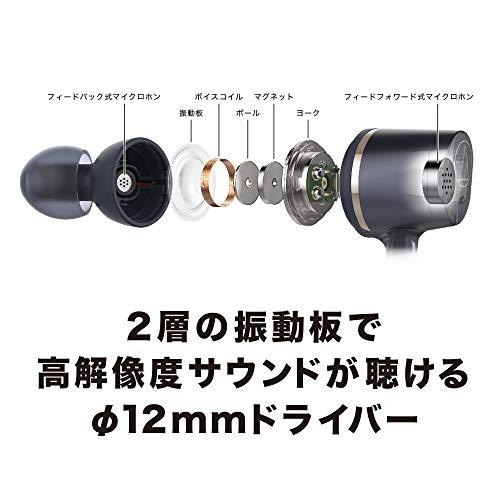 audio-technicaワイヤレスノイズキャンセリングイヤホンBluetoothリモコンマイク付きブラックATH-ANC400BT