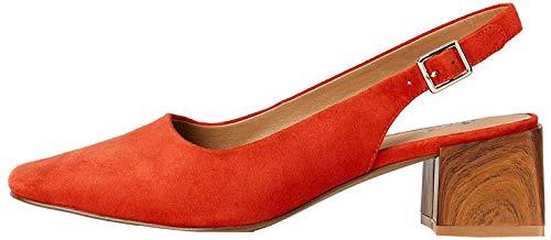Marchio Amazon - find. Square Toe Block Heel Slingback Scarpe col Tacco Punta Chiusa, Arancione (Arancione), 39 EU