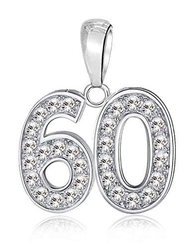 LSDesigns 60 Charm - S925 Sterling Silver Bead fits Pandora Charms for Women Moments Snake Chain Bracelet Happy Birthday 60th