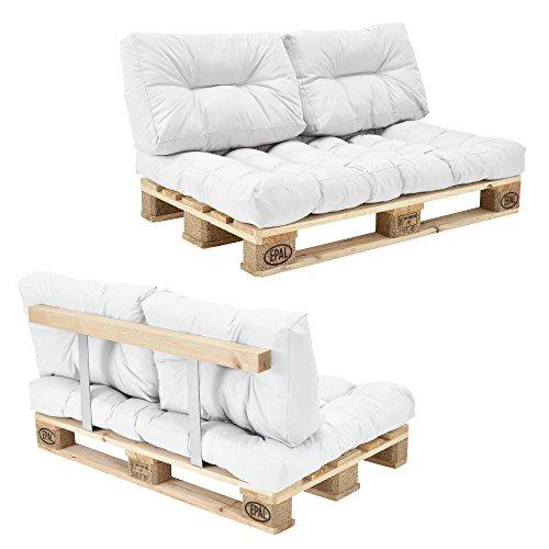 [en.casa] Euro Paletten-Sofa - DIY Möbel - Indoor Sofa mit Paletten-Kissen/Ideal für Wohnzimmer - Wintergarten (1 x Sitzauflage und 2 x Rückenkissen) Weiß - inkl. 2 Europaletten + Rückenlehne