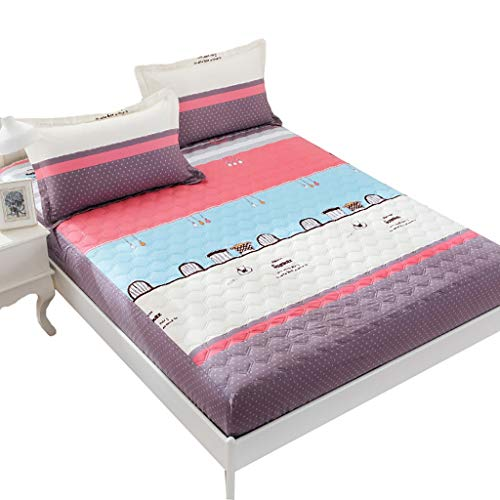 LFY Protector de colchón Protector de colchón Acolchado Queen, Funda de Cama con Borde elástico de 360 °, el Mejor Protector de colchón Impermeable (Color : B, tamaño : Queen (150×200cm))