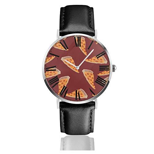PecoStar Yummy Pizza Herren-Quarzuhr mit Zifferblatt, Analog-Anzeige und Lederband, klassisches Design, wasserabweisend