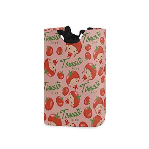 ZANSENG 50L Large Laundry Basket,Boy Girl Wearing Tomato Shaped Hat Collapsible Fabric Laundry Hamper, Foldable Clothes Bag, Folding Washing Bin for Bedroom