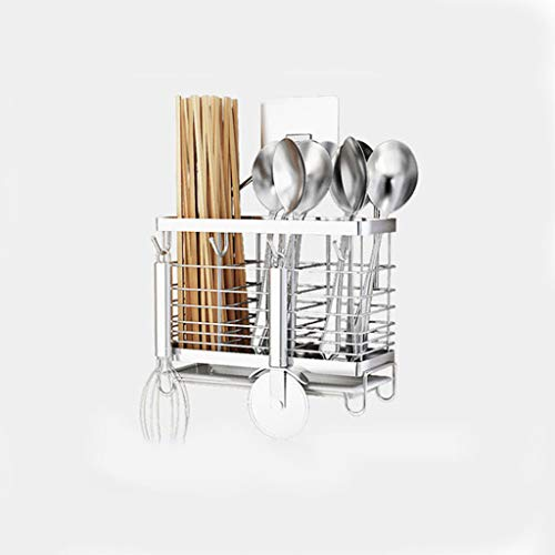 LLKK Porta-Utensilios de Cocina,Soporte para Cubiertos de Metal,Soporte para Utensilios de Cocina,Muy Adecuado para Tenedores,Cuchillos y cucharas,Acero Inoxidable montado en la Pared