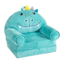 6. Heritage Kids Convertible Flip Lounger Foam Dinosaur Chair