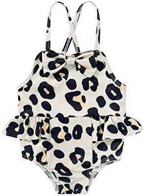 Infant Newborn Baby Girl Bathing Suit Leopard Backless Swimwear Baby Girl One Piece Floral Halter product image