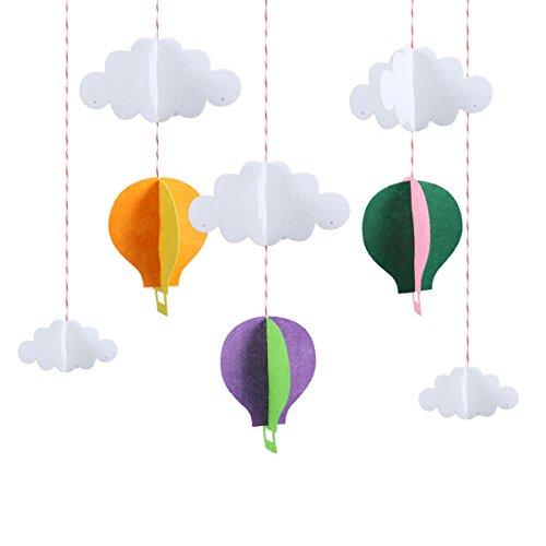 STOBOK Papier Girlande 3D Heißluftballon Form mit Wolken Baby Mobile Decke Fenster Wand Hängende Deko