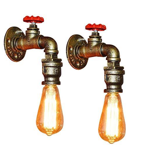 2 Piezas Lámpara de Pared Tubería de Agua Aplique de Pared Industrial Retro Color Bronce Luz de Pared con Decoración de la Válvula del Grifo Luces de Pared para Restaurante Bar Cocina Dormitorio