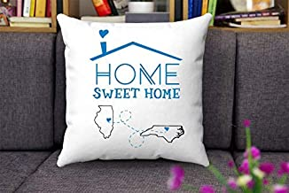 Wini2342ckey Map Throw Pillow Covers Illinois North Carolina-Home Sweet Home IL NC-Custom House Warming Gift for Mom, Dad, Family-Decorative Home Throw Pillow Covers 18