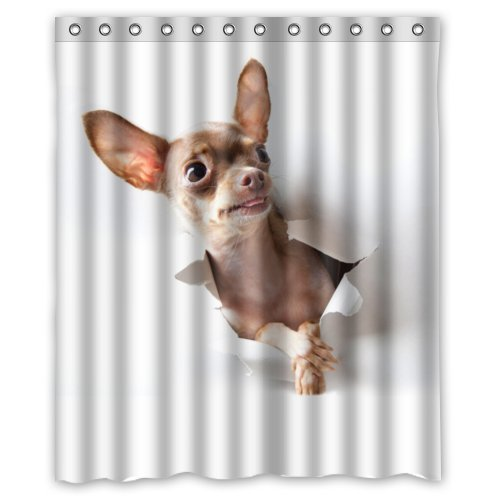 Presock Duschvorhänge, Honey Day House Chihuahua Waterproof Shower Curtain Eco-Friendly Fabric Bathroom Set with Hooks