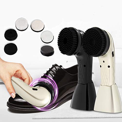 HAITOY Cepillo Pulidora de Zapatos EléCtrica, Dos Colores Kit de Cepillo Multifuncional con Cuidado de Cuero, Recargable para Cuidado del Calzado Bolso Cuero Sofá Cuero Asiento de Coche,Champagne