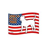 犬 ステッカー 「はた」 アメリカンピットブルテリア 斜め Mサイズ(2枚セット)
