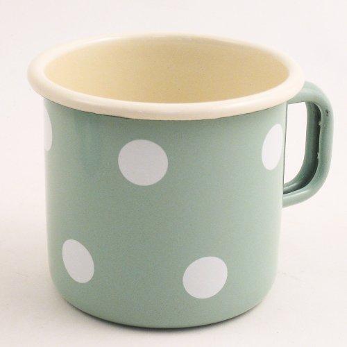 Münder Emaille - Becher, Tasse, Henkelbecher, Kaffeetasse - Farbe: Mint mit Tupfen - Emaille