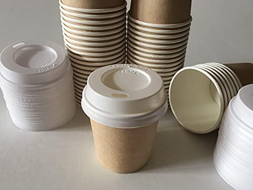 Ggroup Bicchieri Carta per caffè Bicchiere in CARTONCINO con Coperchio Piatto ASPORTO Caffe Espresso 200 Pezzi 110ml 4oz