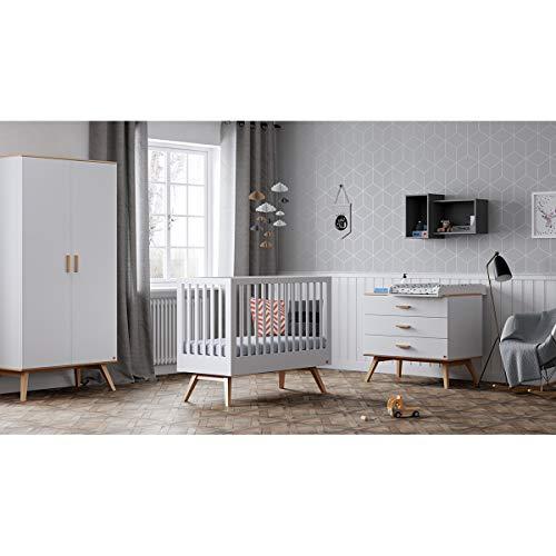 Chambre complète lit bébé 60x120 - commode à langer - armoire 2 portes Nautis - Blanc