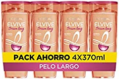 L'Oréal Paris Elvive Dream Long Champú Reconstructor, Para Pelo Largo y Dañado, Pack de 4 Unidades x 370 ml, Total: 1480 ml