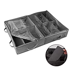 """BIG SHOE STORAGE BAG- 24"""" X 32"""" X 6"""" Our shoe storage bag allows you to store up to 12 pairs of shoes. It is one of the largest in the market and is therefore equipped to store shoes up to size 12! STURDY CONSTRUCTION- Because of the thick fabric and..."""
