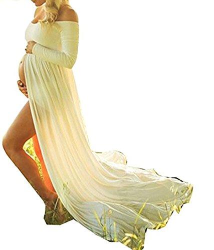 Ruiying Falda Partidade Disfraz Gasa para Mujeres Embarazadas ,Accesorios de Fotografía,Vestido de Premamá Fuera de Hombro Ropa Con Manga Larga (L, Blanco 2)