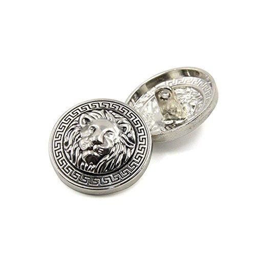 10PCS Clothes Buttons - Fashion Lion Head Sewing Button Round Shaped Metal Button Set for Men Women Blazer, Coat, Uniform, Shirt, Suit and Jacket (Silver, 25mm)
