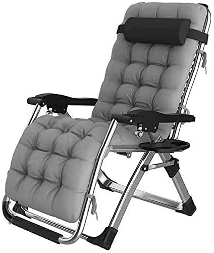 Lounger Extra wide garden chair Outdoor Garden Camping Relax Comfort Foldable sun Adjustable Deck chair for the yard balcony patio, gray