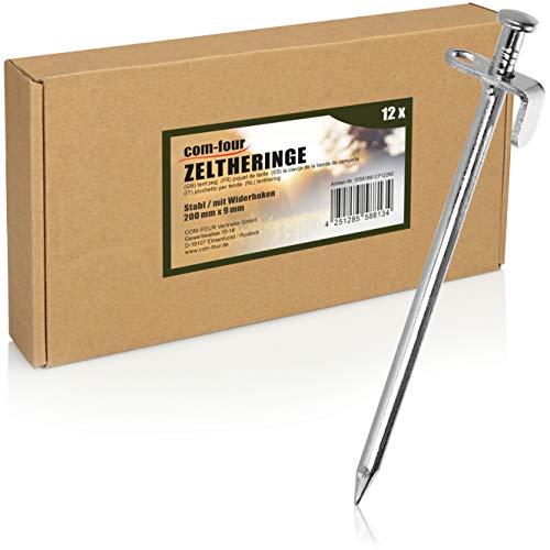 com-four® 12x Zelt-Heringe aus Stahl - Lange und robuste Erdnägel für Camping und Outdoor - ideal für normalen und harten Boden - 20cm