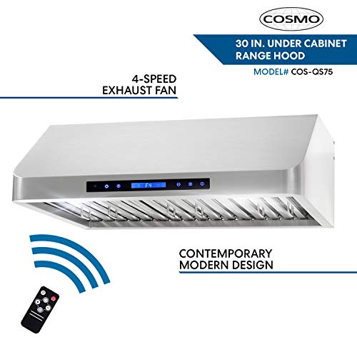 Cosmo COS-QS75 30 in. Under Cabinet Range Hood Convertible from Ducted to Ductless (Kit Not Included) in Stainless Steel